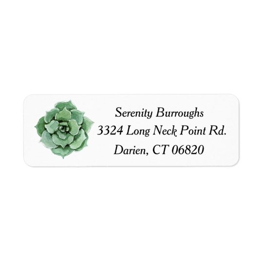 Tadelloses grünes saftiges Kaktus-Aquarell mit Rückversand-Adressaufkleber