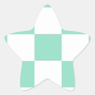 Tadelloses grünes Schachbrett Stern-Aufkleber