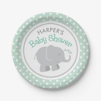 Tadelloses Grünes und Grau der Elefant-Babyparty-  Pappteller