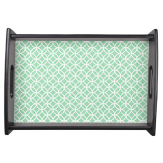 Tadelloses grünes und weißes kleines tablett