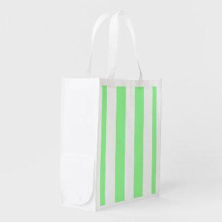 Tadelloses grünes Weiß XL Stripes Muster Wiederverwendbare Einkaufstasche