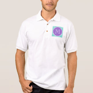 Tadelloses grünes weißes Anker-Muster, lila Polo Shirt