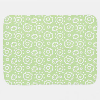 Tadelloses grünes weißes Blumenmuster-Baby Puckdecke