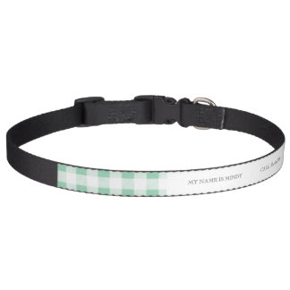 Tadelloses grünes weißes Gingham-Muster Haustierhalsband