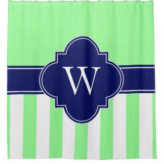 Tadelloses grünes weißes Marine-Blau-Monogramm Duschvorhang