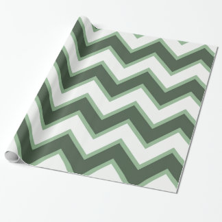 Tadelloses grünes weißes Zickzack Geschenkpapier