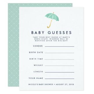 Tadelloses Regenschirm-Babyparty-Ratespiel Karte