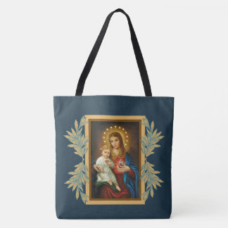 Tadelloses u. trauriges Herz-Mary-Baby Jesus Tasche