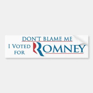 Tadeln Sie mich nicht, den ich für Romney mit Logo Autoaufkleber