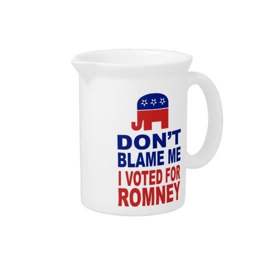 Tadeln Sie mich nicht, den ich für Romney wählte Getränke Krug
