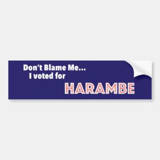 Tadeln Sie mich nicht… Ich wählte für Harambe Autoaufkleber