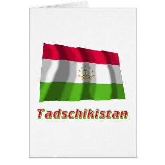 Tadschikistan Fliegende Flagge MIT Namen Karte