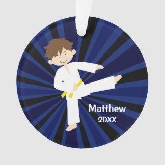 Taekwondo-Karate-Gelb-Gurt-Junge personalisiert Ornament