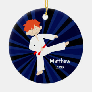 Taekwondo-Karate-roter Gurt-roter Junge Keramik Ornament