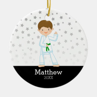 Taekwondo-Karate-Stern-grüner Gurt-Junge Keramik Ornament