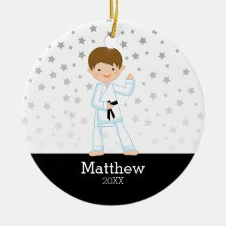 Taekwondo-Karate-Stern-schwarzer Gurt-Junge Keramik Ornament