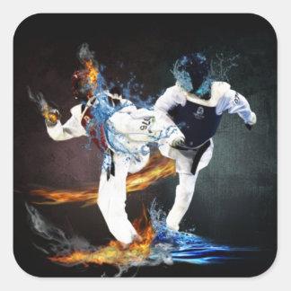 Taekwondo Quadrat-Aufkleber