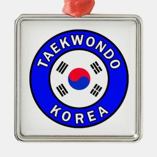 Taekwondo Silbernes Ornament