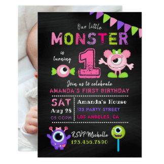 Tafel-1. Geburtstags-kleines Monster-Mädchen-Party Karte