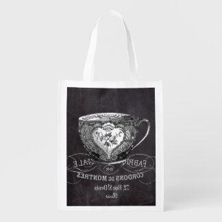 Tafel-Alice im Wunderlandtee-Party Teacup Wiederverwendbare Einkaufstasche