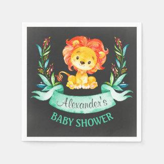 Tafel-Aquarell-Löwe-Babyparty Papierservietten