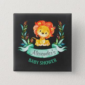 Tafel-Aquarell-Löwe-Babyparty Quadratischer Button 5,1 Cm