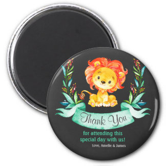 Tafel-Aquarell-Löwe danken Ihnen Runder Magnet 5,7 Cm