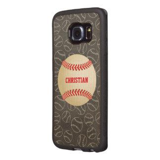 Tafel-Baseball-Muster mit Namen und Baseball Handyhülle Aus Holz