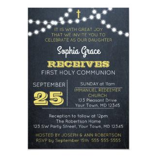 Tafel beleuchtet Golderste Kommunions-Einladung Karte