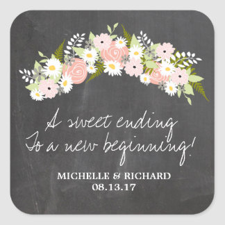 Tafel-BlumenKranz-Hochzeit Quadrat-Aufkleber
