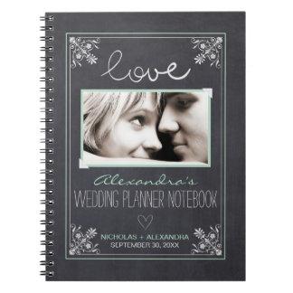 Tafel-Braut-Hochzeits-Planer-Notizbuch (Minze) Spiral Notizbücher