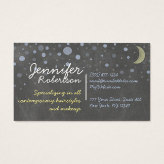 Tafel-Entwurf mit Sternen, Mond, farbige Kreide Visitenkarte