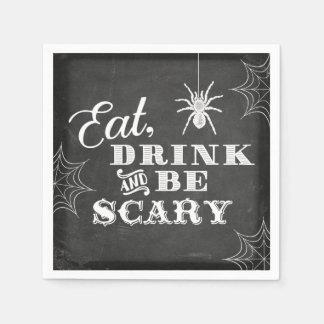 Tafel essen Getränk und sind beängstigendes Papierserviette
