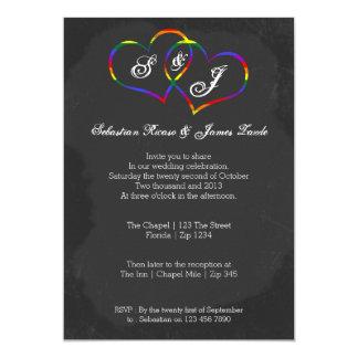 Tafel-Gay Pride-Regenbogen-Herz-Gekritzel-Hochzeit 12,7 X 17,8 Cm Einladungskarte