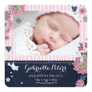 Tafel-Geburts-Mitteilungs-Streifen-Mädchen Quadratische 13,3 Cm Einladungskarte