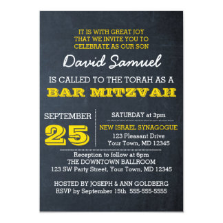 Tafel-GoldBar Mitzvah Einladung