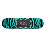 Tafel; Heller Türkiszebra-Tierdruck Skateboard Brett