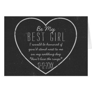 Tafel-Herz ist meine beste Mädchen-Antrag-Karte Grußkarte