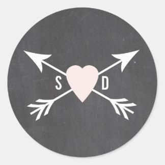 Tafel-Herz + Pfeil-Hochzeits-Aufkleber Runder Aufkleber