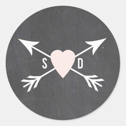 Tafel-Herz + Pfeil-Hochzeits-Aufkleber