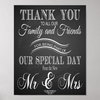 Tafel-Hochzeit danken Ihnen zu drucken Poster