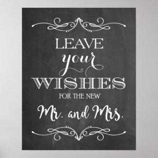 Tafel-Hochzeit wünscht Zeichen Poster