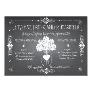 Tafel-Hochzeits-Proben-Maurer-Glas-Einladung 12,7 X 17,8 Cm Einladungskarte