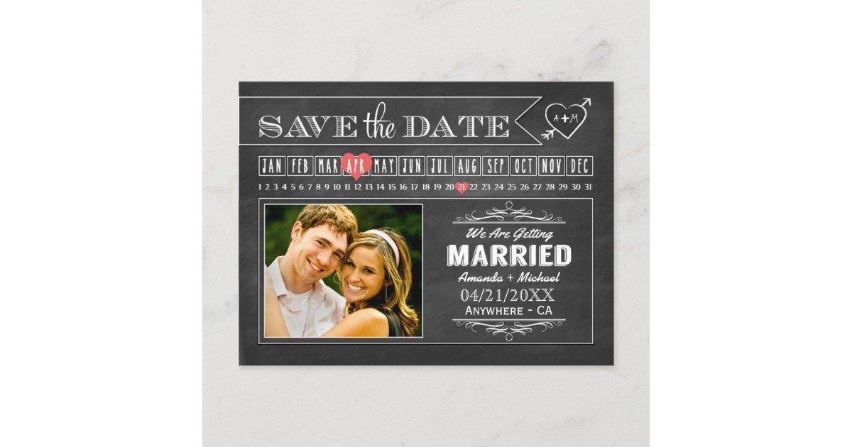Tafel-Kalender-Foto-Save the Date Karten | Zazzle