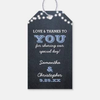 Tafel-Licht-blaue Hochzeit danken Ihnen Geschenkanhänger