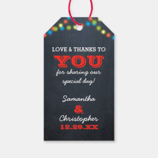 Tafel-Licht-Feiertags-Hochzeit danken Ihnen Geschenkanhänger