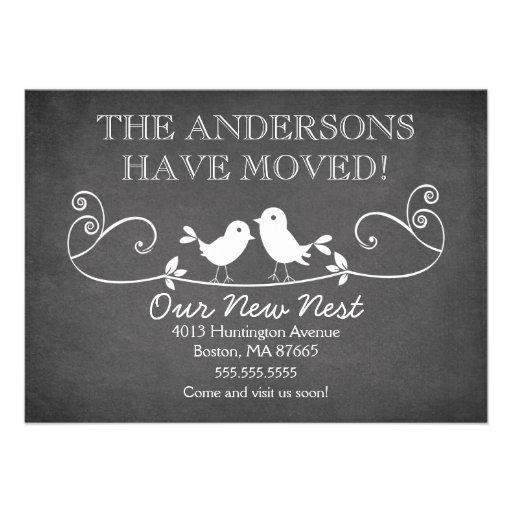 Tafel-Liebe-Vogel-neue Adressen-Mitteilung Personalisierte Einladungen