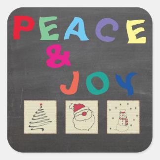 Tafel-lustiges buntes WeihnachtsPatchwork Quadratischer Aufkleber