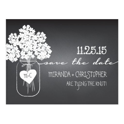 Tafel-Maurer-Glas-Save the Date Postkarte