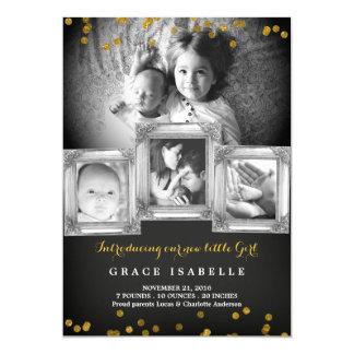 Tafel-Rahmenconfetti-Baby-Geburts-Mitteilung 12,7 X 17,8 Cm Einladungskarte
